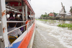 Tourism and travel in Bangkok by the Chao Phraya Express Boat. Stock Photos