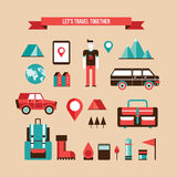 Tourism Travel Camping and Hiking Set of flat design elements Royalty Free Stock Photography