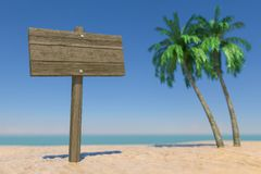 Tourism and Travel Concept. Empty Wooden Direction Signbard in Tropical Paradise Beach with White Sand and Coconut Palm Trees. 3d. Tourism and Travel Concept stock photo
