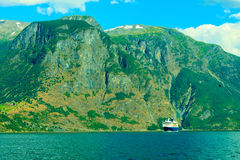 Tourism and travel. cruise ship on fjord in Norway. Stock Photography