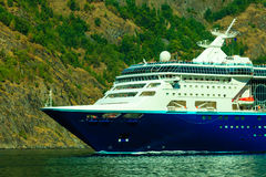 Tourism and travel. cruise ship on fjord in Norway. Royalty Free Stock Photo