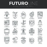 Tourism and Travel Futuro Line Icons Set Stock Photo