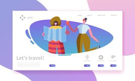 Tourism and Travel Industry Landing Page. Summer Traveling Holiday Vacation with Flat People Characters Website Template. Vector illustration royalty free illustration