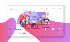 Tourism and Travel Industry Landing Page. Summer Traveling Holiday Vacation with Flat People Characters Website Template. Vector illustration stock illustration