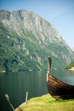 Tourism and travel. Mountains and fjord in Norway. Royalty Free Stock Photo
