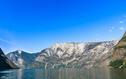 Tourism and travel. Mountains and fjord in Norway. Royalty Free Stock Photography