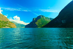 Tourism and travel. Mountains and fjord in Norway. Royalty Free Stock Image