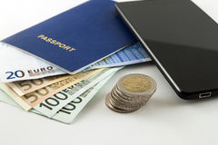 Tourism, travel and objects concept - Euro money, smartphone and Stock Image