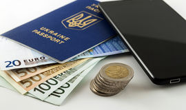 Tourism, travel and objects concept - Euro money, smartphone and Royalty Free Stock Photo