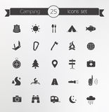 Tourism, travel silhouettes icons set Stock Images
