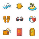 Tourism, travel, trip. Flat style icons vector Royalty Free Stock Photo
