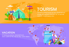 Tourism Travel Vacation Trip Destinations World. Map Tent Camping Forest Mountain Expedition Web Banner Set Flat Vector Illustration royalty free illustration