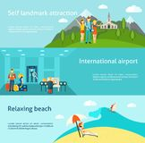 Tourism travelling horizontal flat banners set. Tourists at international airport and relaxing on the beach flat horizontal banners set abstract  vector Stock Image
