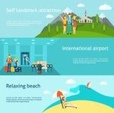 Tourism travelling horizontal flat banners set Stock Image
