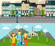 Tourism travelling horizontal flat banners set Stock Images