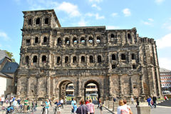 Tourism at Trier - Porta Nigra stock photos