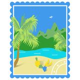 Tourism. Tropics. Color illustration with a view of the sea, the beach, fruits, mountains, made in the form of the brand. royalty free illustration