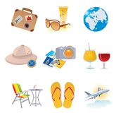 Tourism and vacation icons Royalty Free Stock Images