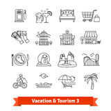 Tourism and vacation recovery. Thin line icons set Stock Image