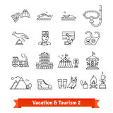 Tourism and vacation recovery. Thin line icons set Royalty Free Stock Photos
