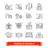 Tourism and vacation recovery. Thin line icons set Stock Photo