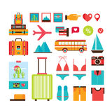 Tourism Vacation Summer trip icon collection Modern flat design Royalty Free Stock Image