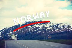 Camper car in norwegian mountains. Tourism vacation and travel. Camper van motorhome in norwegian mountains Royalty Free Stock Images