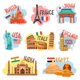 Tourism vacation travel flat pictograms set Stock Photography