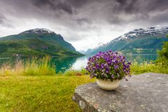 Mountains landscape, fjord and rest place, Norway Stock Photo