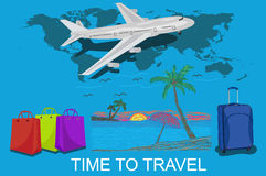 Tourism and vacations concept, sketch, vector illustration Stock Photography