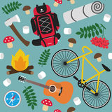 Tourism Vector Seamless Pattern Royalty Free Stock Images
