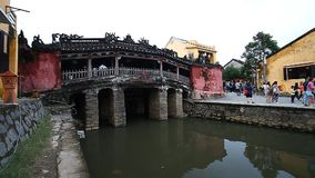 Tourism in Vietnam. The Japanese Covered Bridge - one of the main attractions of Hoi An stock video