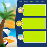 Tourism website template with summer offers Royalty Free Stock Images
