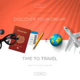 Tourism website template, time to travel Royalty Free Stock Photo