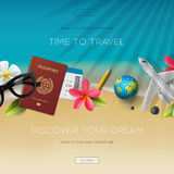 Tourism website template, time to travel Royalty Free Stock Image