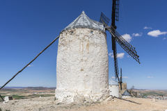 Tourism, windmills of Consuegra in Toledo, Spain. They served to. Grind grain crop fields Royalty Free Stock Image