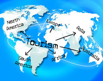 Tourism Worldwide Means Vacation Destinations And Tourist. Worldwide Tourism Indicating Vacation Globalisation And Globalization Royalty Free Stock Photos