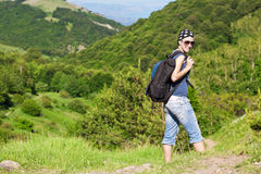 Tourism. young woman hiking in the mountains. Tourism. young girl woman hiking in the mountains Royalty Free Stock Photography