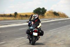 Tourisme avec le motorcyle sur la route Photographie stock