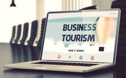 Tourisme d'affaires - sur l'écran d'ordinateur portable closeup 3d Photographie stock