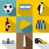Tourisme dans l'ensemble d'icône de l'Argentine, style plat Image stock