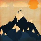 Tourisme de ski d'hiver d'affiche de vintage Montagnes de PAYSAGE Vecteur Image stock