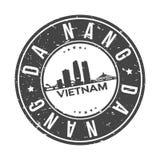 Tourisme de voyage de vecteur de timbre de conception d'horizon de ville de bouton du Vietnam Asie de Da Nang en rond illustration stock