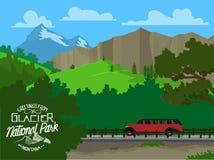 Tourisme du parc national de glacier illustration libre de droits