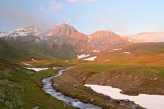 Tourisme scénique d'eco dans les Alpes Photographie stock libre de droits