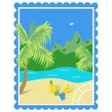 tourisme tropiques Illustration de couleur avec vue sur la mer, la plage, fruits, montagnes, faites sous forme de marque illustration libre de droits