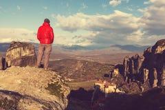 Tourismus in Meteora lizenzfreies stockbild