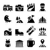 Tourismus, Reise u. Abenteuerikonensatz Stockfoto