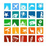 Tourismus- und Ferienikonen Stockfoto