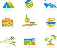 Tourismus und Ferienikonen und -zeichen Stockbild